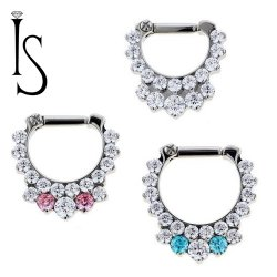 Industrial Strength Odyssey Titanium Prong-set Double Row Faceted Gem Septum Clicker 16g 14g 12g