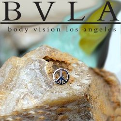 "BVLA 14Kt Gold ""Peace"" Threadless End 18g 16g 14g Body Vision Los Angeles ""Press-fit"""