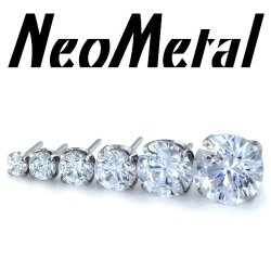 "18 Gauge 18g NeoMetal Threadless Titanium Prong-Set Gem 1.5mm, 2mm, 2.5mm, 3mm, 4mm, 5mm ""Press-fit"""