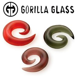 "Gorilla Glass Spirals 8 Gauge to 1"" Glass Ear Weight (Pair)"