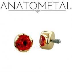 Anatometal 18kt Gold Threaded 4mm Prong-set Faceted Gem End 18g 16g 14g 12g