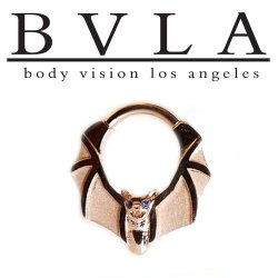 "BVLA 14kt Gold ""Lilith"" Bat with Gem Eyes Nose Nostril Septum Ring 16 Gauge 16g Body Vision Los Angeles"