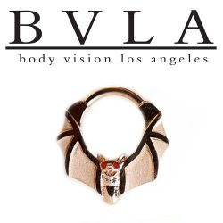 "BVLA 14kt Gold ""Lilith"" Bat with Gem Eyes Nose Nostril Septum Ring 14 Gauge 14g Body Vision Los Angeles"