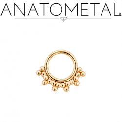 Anatometal 18kt Gold Seam Ring With Gold Sabrina Overlay 18 Gauge 18g