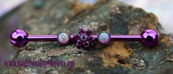 Anatometal Titanium Gem Flower 2 Bezel-set Gem Industrial Barbell 14 Gauge 12 Gauge 14g 12g
