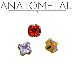 Anatometal Titanium Threaded 3mm 4mm 6mm Princess-cut Gem End 18 Gauge 16 Gauge 14 Gauge 12 Gauge 18g 16g 14g 12g