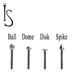 "Industrial Strength Stainless Surgical Steel Titanium Nose Bone Stud 20 Gauge 18 Gauge 20g 18g 3/32"" Ball Half-dome Disk Spike"