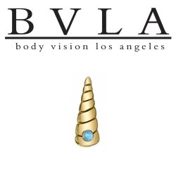 "BVLA 14kt Gold ""Unicorn Horn"" Threaded End Dermal Top18g 16g 14g 12g Body Vision Los Angeles"