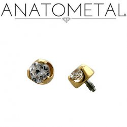 Anatometal 18kt Gold Threaded 2.0mm Prong-set Faceted Gem End 18g 16g 14g 12g