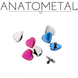 Anatometal Titanium Threaded Heart End 18g, 16g, 14g, 12g
