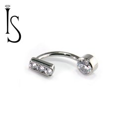 Industrial Strength Titanium Curved Barbell with 3 Channel-set Gems Fixed Top and 4mm Bezel-set Bottom Gem 14 Gauge 14g