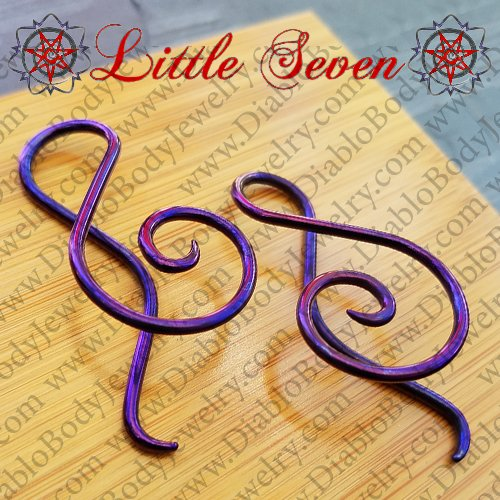 "Little Seven Niobium Small ""Shakti"" Spirals 12 Gauge 12g (Pair) - Click Image to Close"
