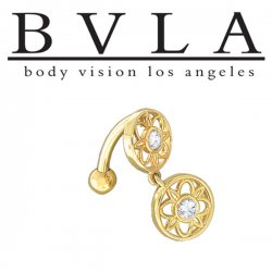 BVLA 14kt Gold Torino Genuine Navel Diamond Curved Barbell 14 Gauge 14g Body Vision Los Angeles