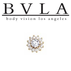 "BVLA 14kt Gold ""The Rose"" 6mm Threadless End Genuine Diamonds 18g 16g 14g ""Press-fit"""