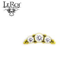 LeRoi Titanium Threaded 3 Gem Cluster 3mm/4mm/3mm Gems with 10 Titanium Bead accents 18 Gauge 16 Gauge 14 Gauge 12 Gauge 18g 16g 14g 12g