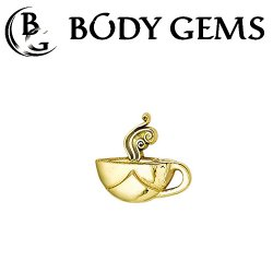 Body Gems 14kt Gold Coffee Cup Threaded End Dermal Top 18 Gauge 16 Gauge 14 Gauge 12 Gauge 18g 16g 14g 12g