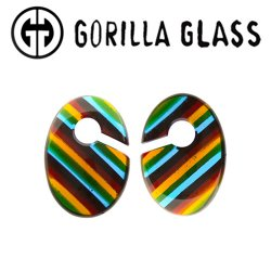 "Gorilla Glass Linear Ovoids 0.5oz Ear Weights 1/2"" And Up (Pair)"