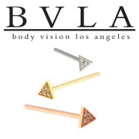 BVLA 14kt Gold Micro Pave Triangle Nostril Screw Nose Bone Ring Stud Nail 20g 18g 16g Body Vision Los Angeles
