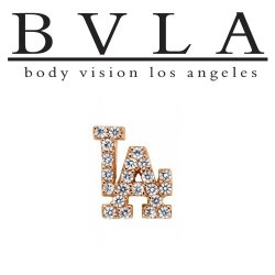 "BVLA 14kt Gold ""LA"" Symbol Threaded Gem End Dermal Top 18g 16g 14g 12g Body Vision Los Angeles"