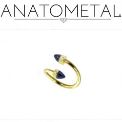 Anatometal 18kt Gold Twister Barbell with 18kt Gold 3mm or 4mm Bullet Cone Ends 16g
