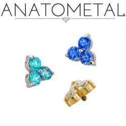 Anatometal 18kt Gold Trio Threaded End 2mm Gems 18g 16g 14g 12g