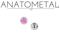 Anatometal Surgical Steel Threaded Faceted Gem Ball End 18 gauge 16 Gauge 18g 16g