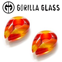 "Gorilla Glass Linear Keyholes 0.4oz Ear Weights 14mm (9/16"") And Up (Pair)"