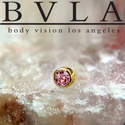 "BVLA 14kt Gold 3.0mm Bezel-set Gem Threadless End 18g 16g 14g ""Press-fit"""