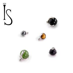 Industrial Strength Titanium 3 Prong Stone 3mm 4mm 5mm Gem End 12g 14g 16g 18g