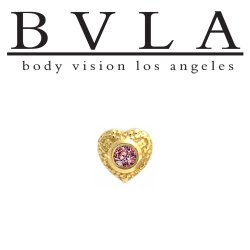 "BVLA 14kt Gold ""Nanda Heart"" Threadless End 18g 16g 14g ""Press-fit"""