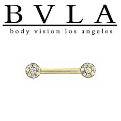 BVLA 14kt Gold Mirror Bell Straight Barbell 16 Gauge 16g Body Vision Los Angeles