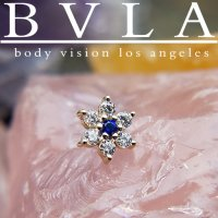 "BVLA 14kt Gold ""Flower"" Threadless Gem End 18g 16g 14g ""Press-fit"""