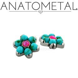 Anatometal Surgical Steel Threaded 7mm Flower 2mm gems 18g 16g