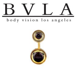 BVLA 14kt Gold Rioja Black Onyx Navel Curved Barbell 14 gauge 14g Body Vision Los Angeles