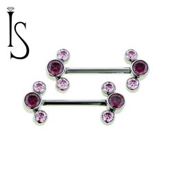 Industrial Strength Titanium Barbell Forward Facing Orbit Cluster Bezel-set Faceted Gems 18g 16g 14g 12g