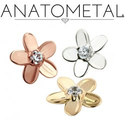 Anatometal 18kt Gold Plumeria Flower 1.5mm Genuine VS Diamond Threaded End 18g 16g 14g 12g