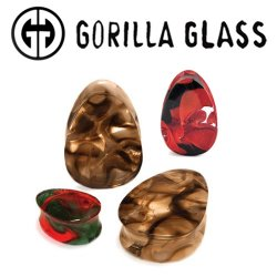 "Gorilla Glass Power Teardrop Plugs 1/2"" to 2"" (Pair)"