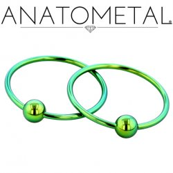 Anatometal Titanium Captive Bead Ball Closure Ring 18 Gauge 18g