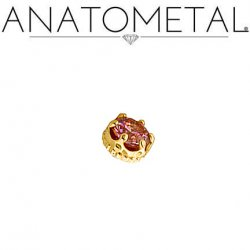 Anatometal 18kt Gold Queen Threaded 4mm Gem End 18g 16g 14g 12g