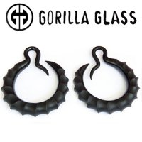 Gorilla Glass Ibex Crescent Hoops 6g 4g 2g (Pair)