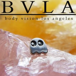 BVLA 14kt Gold Pac-Man Happy Ghost 6mm Threaded End Dermal Top 18g 16g 14g 12g Body Vision Los Angeles