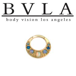 BVLA Boston Tiger 14kt Gold Septum Clicker White Opal Baby Blue Sky Blue Opal Accents 16g Body Vision Los Angeles