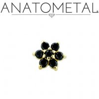 "Anatometal 18kt Gold Threadless Flower End 1.5mm gems 18 Gauge 18g ""Press-fit"""