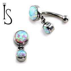 IS Titanium Fixed Top Bezel-set Faux-pal Cab Gem Curved Barbell w/ 4mm Dangle 14 gauge 14g