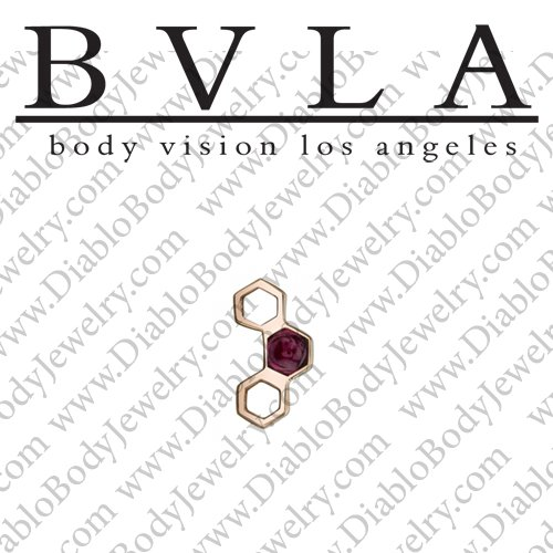 "BVLA 14Kt Gold ""Honeycomb"" Threaded End Dermal Top 18g 16g 14g 12g Body Vision Los Angeles - Click Image to Close"
