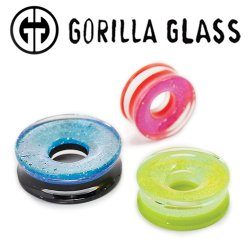 "Gorilla Glass Fused Dichroic Eyelet Plugs 1"" to 3"" (Pair)"