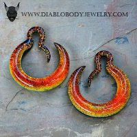 Gorilla Glass Crescent Dichroic Hoops 6g 4g 2g (Pair)