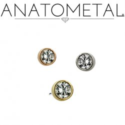 "Anatometal 18Kt Gold Threadless Bezel-Set Diamond End 2mm 2.5mm 3mm 18 Gauge 18g ""Press-fit"""