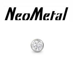 "18 Gauge 18g NeoMetal Threadless Titanium 2.0mm Bezel-Set Genuine Diamond End ""Press-fit"""