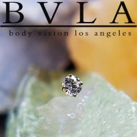 BVLA 14kt Gold 4-Prong 3.0mm Gem Threaded End Dermal Top 18g 16g 14g 12g Body Vision Los Angeles